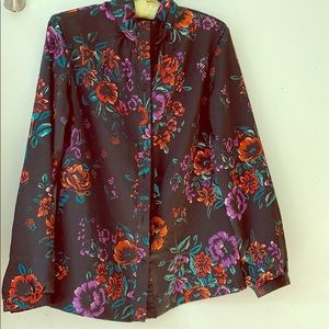 Gorgeous vintage black floral blouse